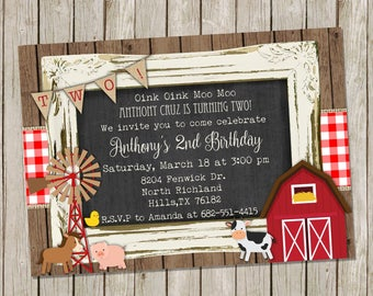 Farm Animal Barn Birthday Party Invitation Package 5x7