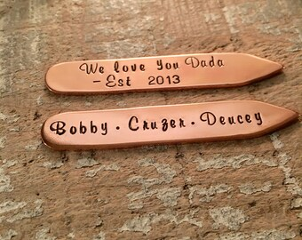 Dad Established Collar Stays, Father's Day Collar Stays, Gift For New Dad Copper Collar Stays, Kids Names Collar Stays, Dad Gift From Kids