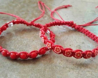 Hemp Bracelet Set, Red Bracelets, Adjustable Hemp Bracelet, Red Sea Coral, Femo Flowers, Gift for Her, Friendship Bracelets, Hemp Jewelry