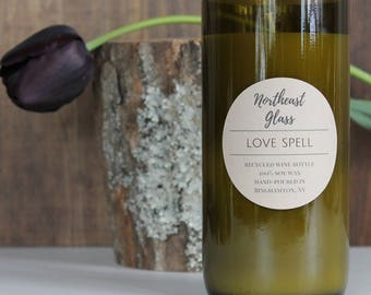 Love spell, Wine bottle candle, 14oz soy candle