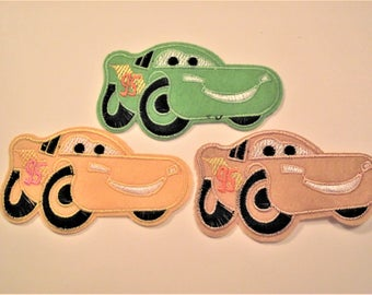 CAR APPLIQUE,Cartoon RACECAR Iron On Applique,Sewing Item,Kids Clothing Item,Sewing Notion,Juvenille Car Patch,Disneys Cars Motif