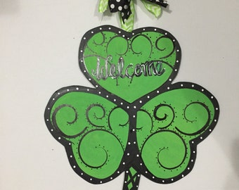 Shamrock Door Hanger, St Patricks Day Door Hanger , Shamrock Wreath, St Patricks Door Decor, St patricks decor, St Patricks Door