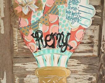 Hot Air Balloon -  Birth Announcement - Hospital Door Hanger - Baby Girl Nursery - Baby Gift - Nursery Decor