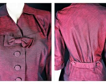 30's 40s Womens Peplum Suit Sz S / Vintge Sharkskin Silk Dress / MidCentury Red Silk Shining Fabric Women's Suit / 30s Peplum Jacket & Skirt