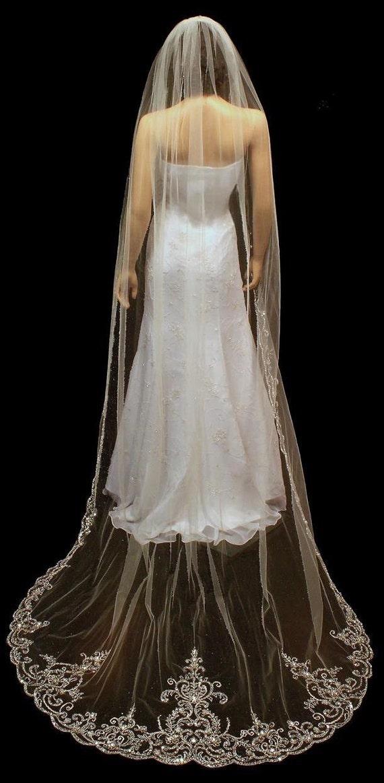 Cathedral Wedding Veil Crystal Extra Long Bridal Veil