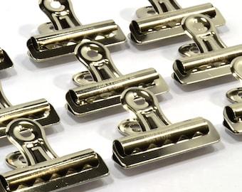 "18-Heavy Duty Nickel-Plated Steel Bulldog Clips-2-1/4"" Wide- 3/8"" Capacity-CLIP103"