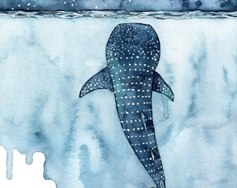 "XLARGE Watercolor Whale Shark Painting - Sizes 16x20 and up, ""Stars Collide"", Whale Shark, Whale Art, Whale Print, Shark, Whale, Beach Decor"