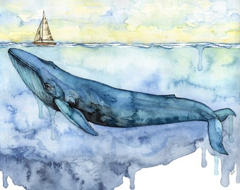 "XLARGE Watercolor Blue Whale Painting - Sizes 16x20 and up, ""Sovereign of the Sea"", Whale, Whale Art, Whale Print, Blue Whale, Beach Decor"