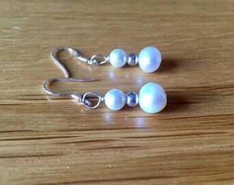 Handmade Earrings - white, freshwater pearls
