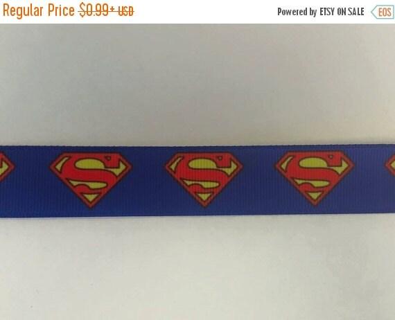 "SUPER SALE SUPERMAN Inspired 7/8"" 22mm Grosgrain Hair Bow Craft Ribbon 782035"