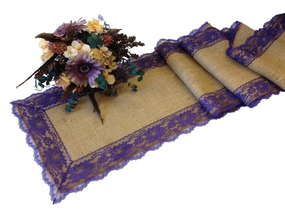 Burlap table runner dark purple lace 16 30 ft 12 for 12 ft table runner