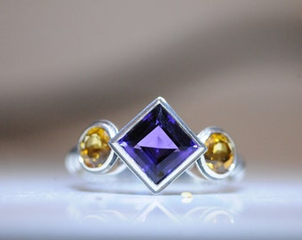 Sterling silver amethyst and citrine ring.