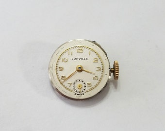Vintage, Lonville, Watch, Movement, Dial, Wrist Watch, Wristwatch, Parts, Steampunk, Altered Art, Beading, Jewelry, Supply, Supplies