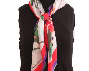 Hand painted crêpe de chine silk scarf - Carré soie crêpe de chine peint à la main