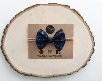 Navy blue glitter bow headband ir clip   navy   blue   glitter bow   clip set   4th of july   newborn   baby   toddler   girl   photo prop