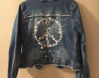 Cherry blossom peace hand painted jacket