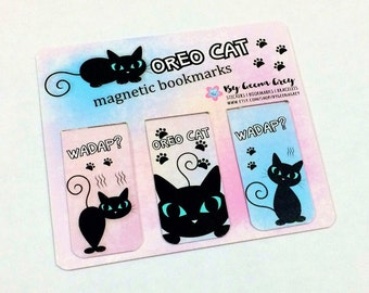 Oreo Cat Magnetic Boomarks, Cat Bookmarks, Planner, Kawaii, Kitty Bookmarks