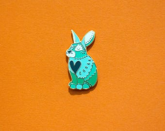 Rabbit / Bunny Chinese Zodiac Pin with Rubber Clasp // Hard Enamel, Cloisonne, Accesories, Flair