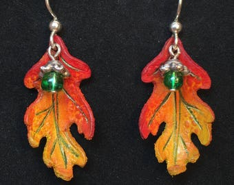Oak Leaf & Acorn Earrings - Red, Gold, and Green