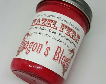 Dragon's Blood - Dragon's Blood Candle - Dragons Blood Soy Wax Candle - Scented Vegan Candle - Dragon Blood Candle - Handmade Soy Candles