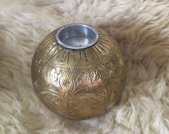 Vintage Spherical Orb Gold Filigree Tea Light Candle Holder