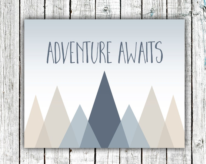 Nursery Art Printable, Adventure Awaits, Baby Boy, Mountains, Modern, Navy, Digital Download Size 8x10 #591