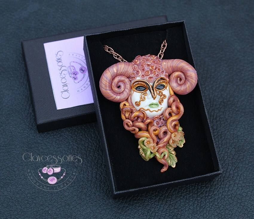 Aries pendant / Aries necklace / Zodiac pendant / Aries gift / Aries zodiac / Horoscope pendant / Aries jewelry / Polymer clay pendant
