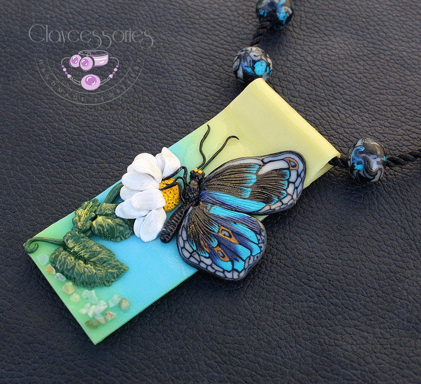 Butterfly necklace / Butterfly pendant / Butterfly jewelry / Statement necklace / Flower necklace / Moth necklace / Polymer clay pendant