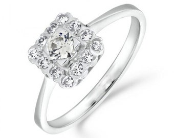 0.40ct Art Deco Vintage Diamond Halo Engagement Ring