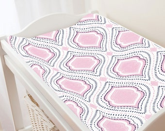 Carousel Designs Pink and Navy Moroccan Damask Changing Pad Cover