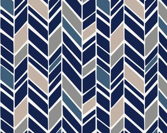 Taupe and Windsor Navy Herringbone Organic Fabric - By The Yard - Gender Neutral / Tribal / Fabric