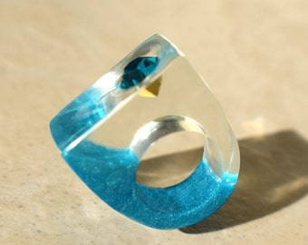 Teal Zeal Swarovski Crystal Spring Resin Ring, Teal Rings, Crystal Rings, Swarovski Jewelry, Resin Rings, Exclusively ResinHeavenUSA