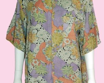 Tropical Floral Print Shirt Vintage 1990s Hawaiian Top Unisex