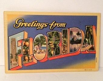 ON SALE Vintage 1942 Linen Postcard Florida WWII Era Mailed Stamp Souvenir 1940's