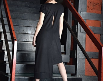 Black asymmetric dress, open back dress, long dress, loose dress, short sleeved dress, black dress by UrbanMood - UM-084-VL