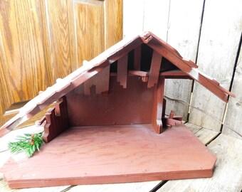 Large Vintage Folk Art Handmade Nativity Manger Creche