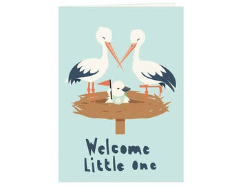 cute storks babyshower card - newborn baby storks - cute stork family - Welcome little one - babyshower card for boy and girl - new baby -