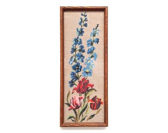 Vintage completed needlepoint, Flower needlepoint, Framed needlepoint, art for bathroom, flowers embroidered, country wall decor