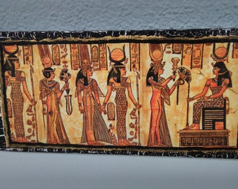 Egyptian mural on wooden base! Aging effect!