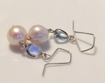 topaz and freshwater pearl earrings, pearl and topaz earrings, blue topaz and pearl earrings, bridal earrings, wedding earrings