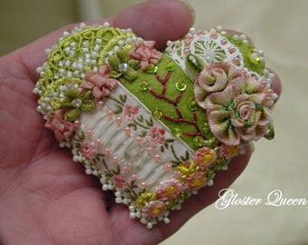 Crazy quilt pin with sweet vintage French ruched ribbon