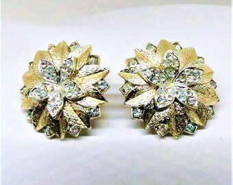 Floral Earrings - Vintage, Francois Signed, Gold Tone, Rhinestones, Clip on, Circa 1940