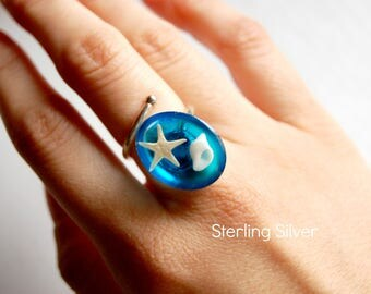 Sterling Silver Sea Ring with starfish and Shell originals