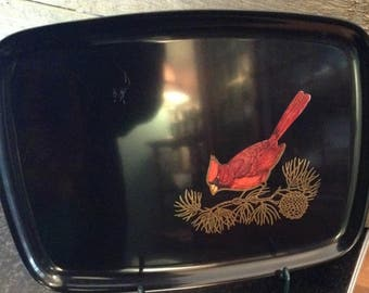 Couroc Of California Tray - Cardinal On Pine Branch