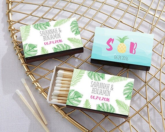 Pineapple Themed Matches Wedding Favors Tropical Theme Favors