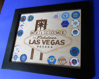 Las Vegas Poker Chip Display Frame with Casino Chips Poker Player Gift Laser-engraved natural birch holder Souvenir Welcome to Vegas