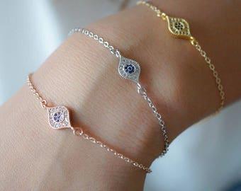 Evil Eye Bracelet, Protection Bracelet, Rose Gold Bracelet, Thin Gold Bracelet, Silver, Minimalist, Stacking, Best Friend, Birthday Gift