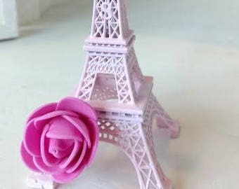 """1 Shabby Chic Pink Eiffel Tower with Pink Rose 6"""" Size Paris France"""