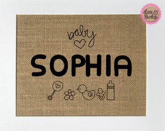 Nursery Baby Room Name Sign *Burlap* 5x7 8x10 burlap custom order sign personalized its a girl boy baby girl room sign rustic decor