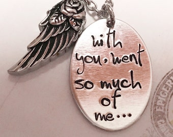 Urn necklace - Hand stamped necklace - Loss necklace - Cremation jewelry - Memorial necklace - Stainless steel necklace - Cremation necklace